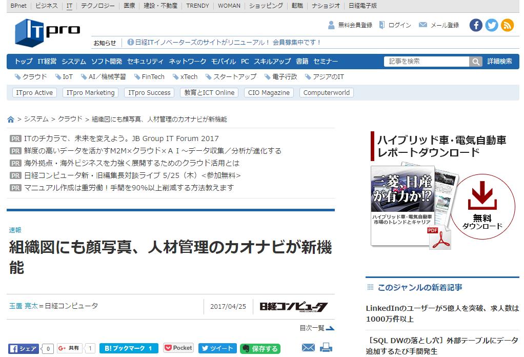 ITproにて、カオナビ最新版に関する記事が掲載されましたのアイキャッチ